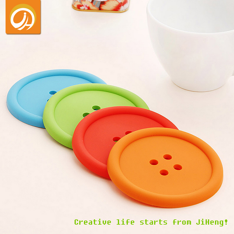Free Shipping Jelly Colors Cute Button Silicone Cup Mat Pad for Table