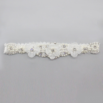 M80070Lace Wedding Garter With Rhinestones Applique Handmade for Bridal
