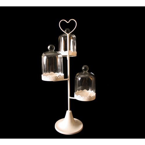 3 piece WHITE CUPCAKE TREE stand with Dome glass