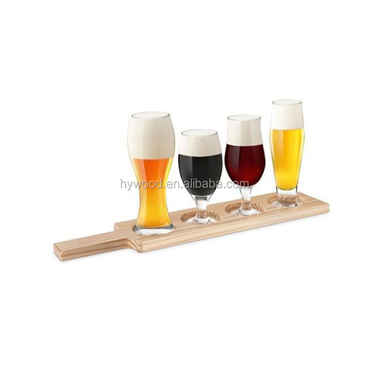 Party 3 or 4 glasses wood beer tasting flight paddle