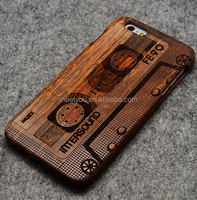 Laser engraved phone cases vintage Tapes shape custom wooden carved phone cases for iphone 4 4S 5C
