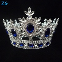 Sparkly Sapphire Blue Crystal Wedding Hair Accessories Beauty Pageant Crown