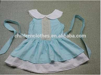 Hot stylish cool color latest dress designs pictures doll collar chiffon baby outfits korean kids clothing