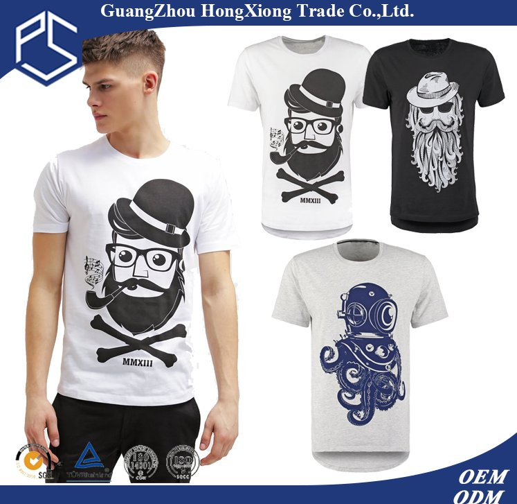 Hongxiong different logos 100% cotton 180gams short sleeve men custom print t shirt