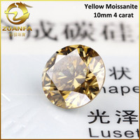 wholesale best selling 4 carat round diamond cut yellow synthetic loose moissanite gemstone