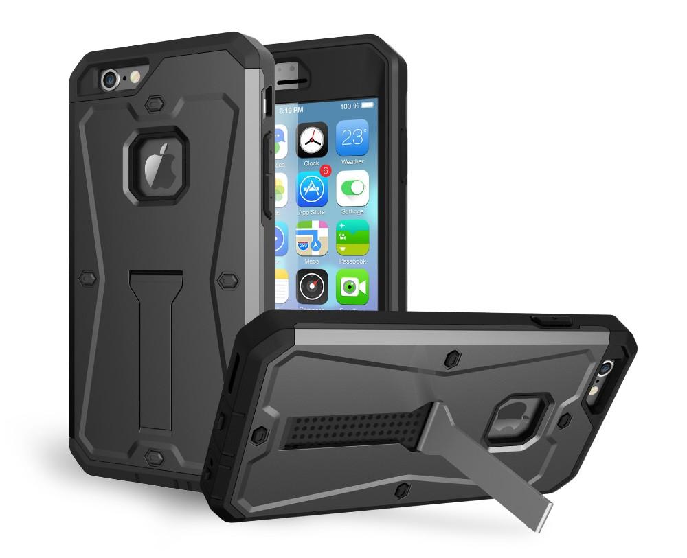 Armor Tank Dual PC+TPU Hard Plastic Cell Phone Case With Kickstand For Iphone 6 6Plus