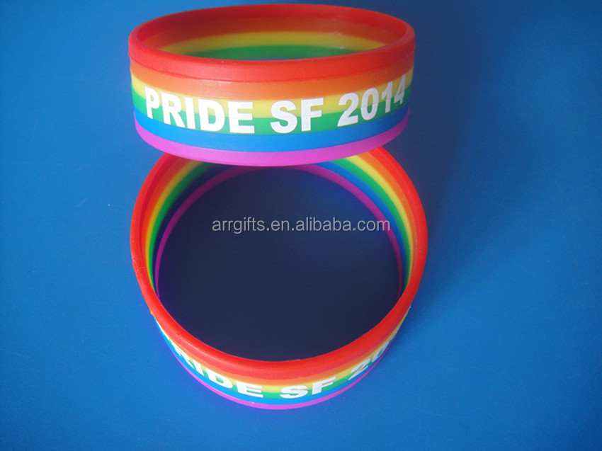 Gay Pride Rainbow Silicone Bracelet, Gay Love Wristband Silicon