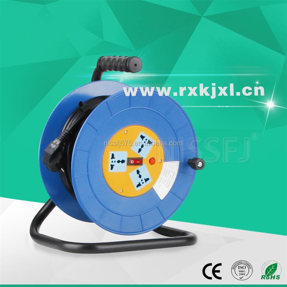 OEM 100ft extension cord reel with leakage protector 3 outlet sockets professional supplier