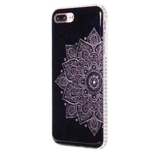 Luxury diamonds frame classical IMD glitter mandala flowers TPU mobile phone case for iphone 5 5s SE case