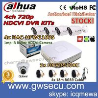 dahua hdcvi dvr kit 4ch hdcvi camera hac-hfw1100s cctv dvr kit analog hd 4 All Channel 720P Smart 1U HDCVI DVR HCVR5104C