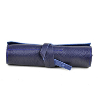 Back to School Leather Tool/Brush/Art/Makeup Roll Blue Pencil Case