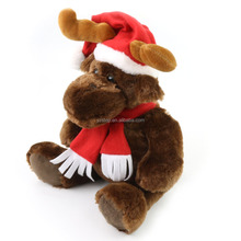 Christmas Gift Stuffed Animal Brown Elk with Scarf Plush Deer Toy