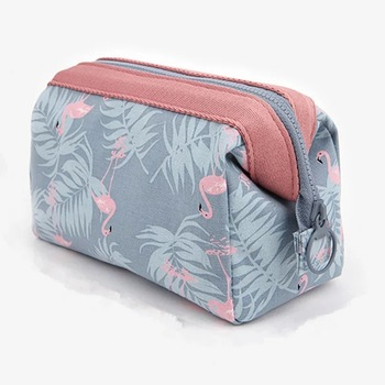 Light Blue Flamingo Brush Organizer Travel Makeup Bag