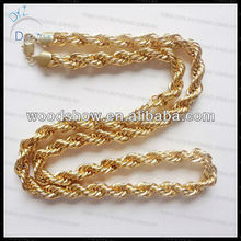 Hip hop 14k gold plated rope chain necklace