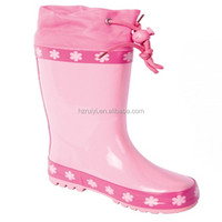 good quality new style pinky girls animate cheap OEM elegant adjustable children rain boots,gum boots with plastic locker