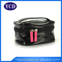 2015 promotional fashion portable pvc black wholesale beauty case cosmetic bags
