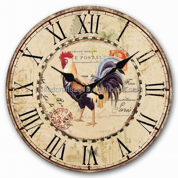 2016 China supplier Vintage Colourful Non-Ticking Silent Wood Wall Clock
