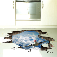 Removable Custom Beautiful Sky Flying Plane PVC Wall Stickers on the Floor 3d