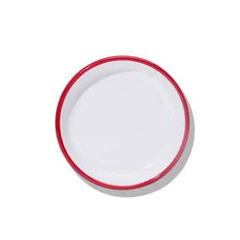 18cm 0.6mm thickness White Enamel deep plates with red rim