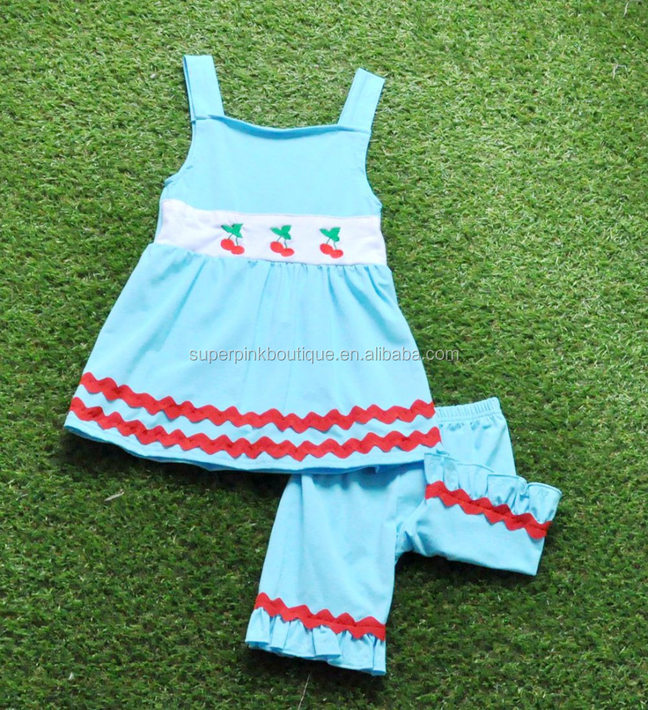 New Design Kids Boutique Outfit Blue Girs Clothing Set Embroidery Cherry Baby Clothes Suits
