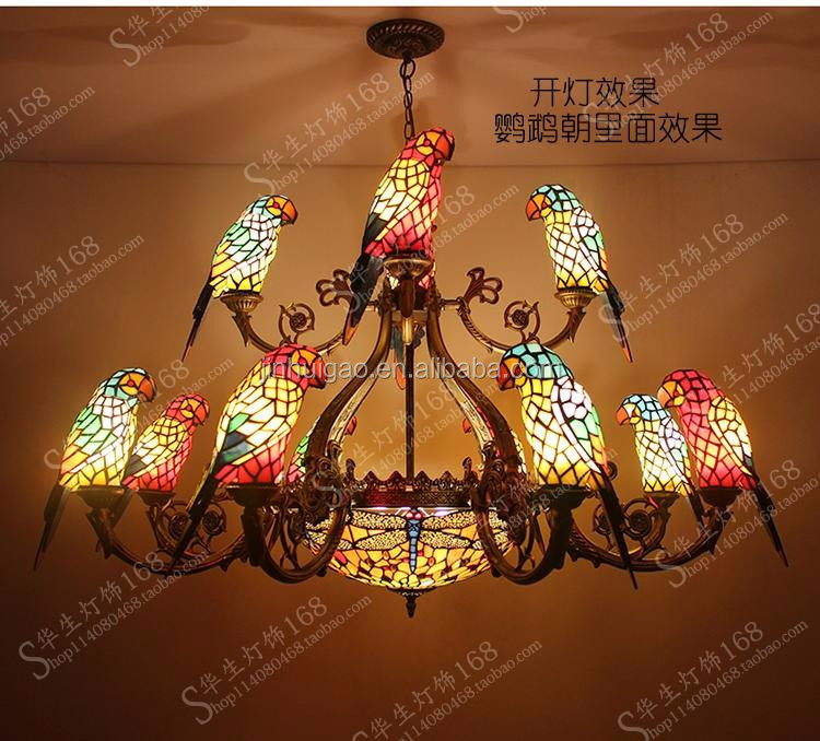 Tiffany style stained glass ceiling lamps parrot chandeliers