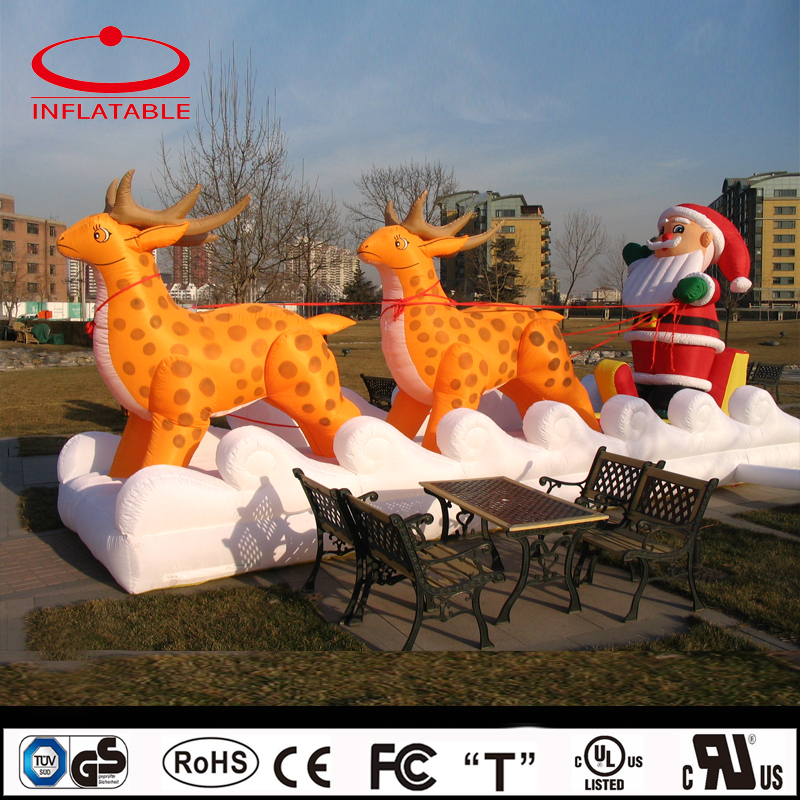 inflatable christmas decoration, inflatable santa claus and reindeer