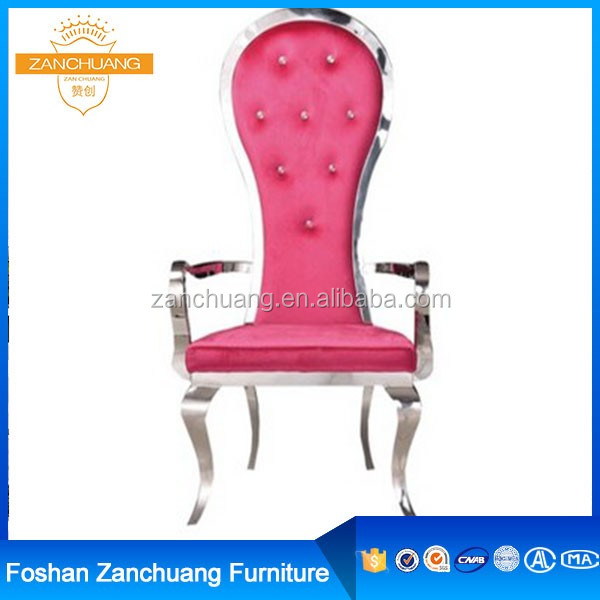 Commercial Hotel furniture pink pu leather one arm chair steel frame