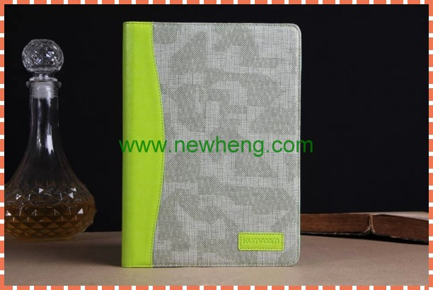 high quality contrast color jean leather case with holder for ipad 5