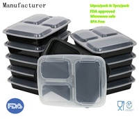 China Factory Meal Prep Food Storage FDA Approved BPA free Plastic Lunch Box bento container 3-Compartment Microwave safe