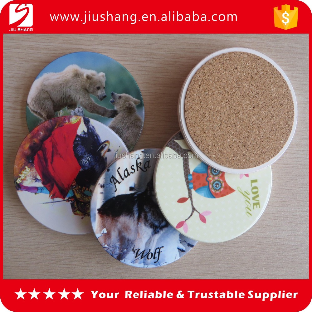 Decorative Water absorbent round ceramic coaster with cork bottom for coffee cup
