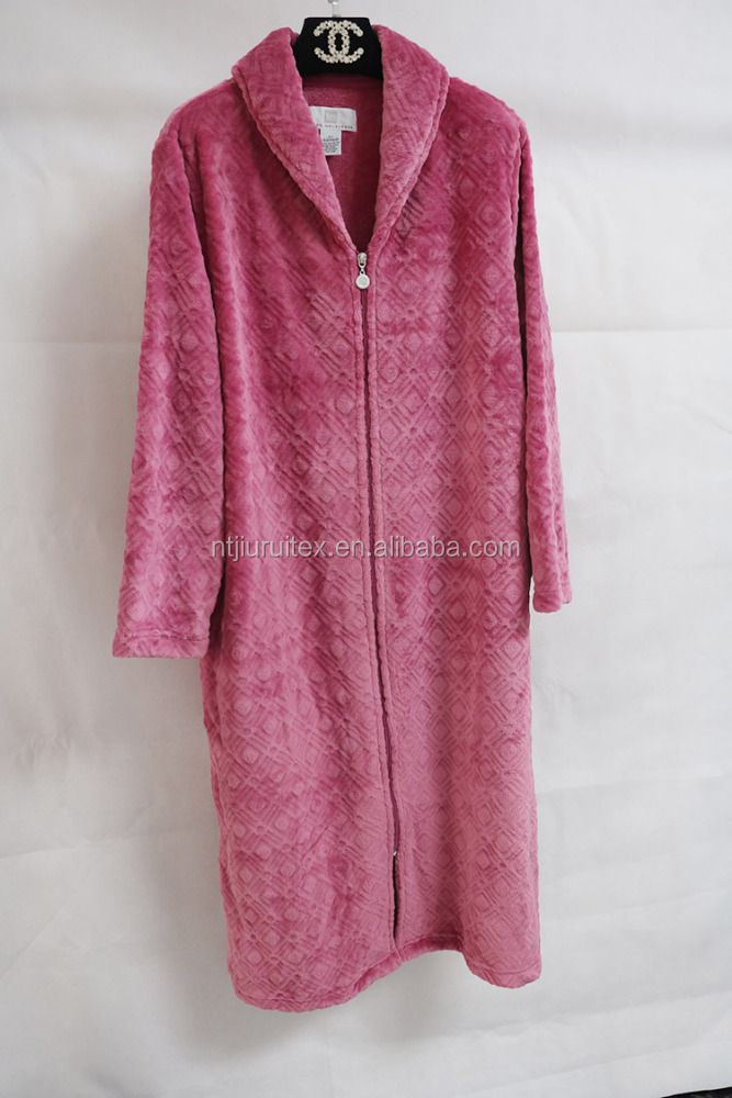 Wholesale OEM Plush Fleece zipper nightgown for women