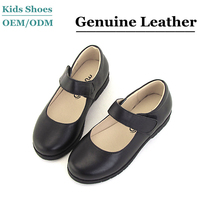 2014 Wholesale Leather Black Kids School Shoes For Girls Casual Shoes With TPR Outsole