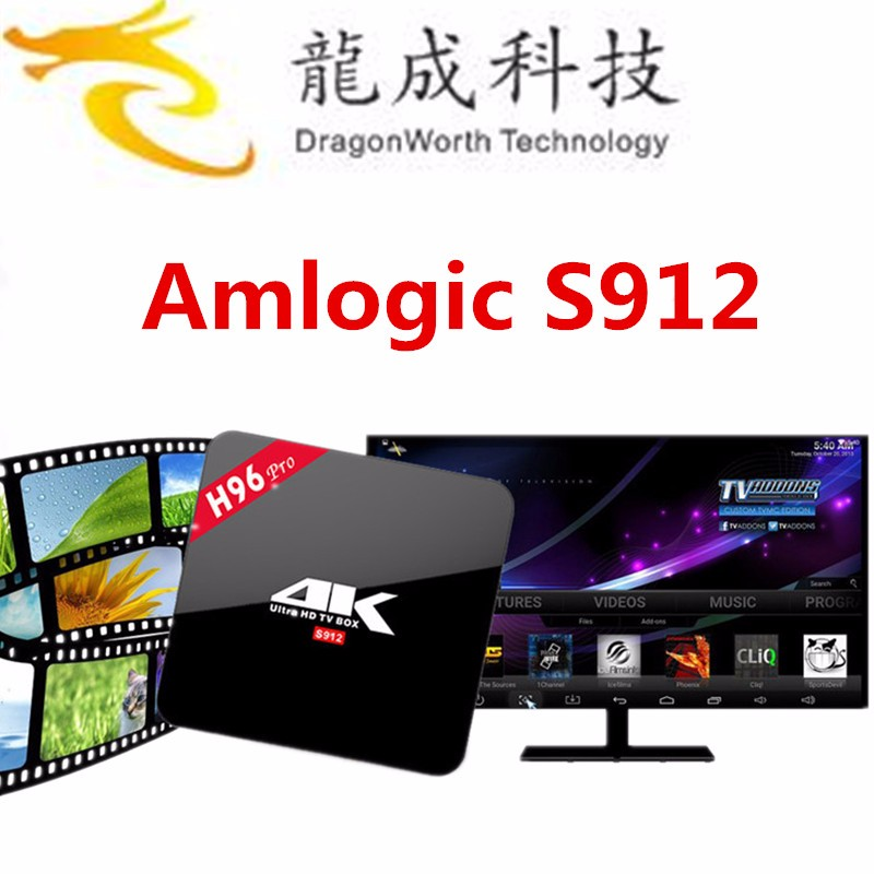 Dragonworth H96 Pro Amlogic S912 64 bit Octa Core Kodi 17.0 4k Android 6.0 Tv Box Can Accept OEM/ODM