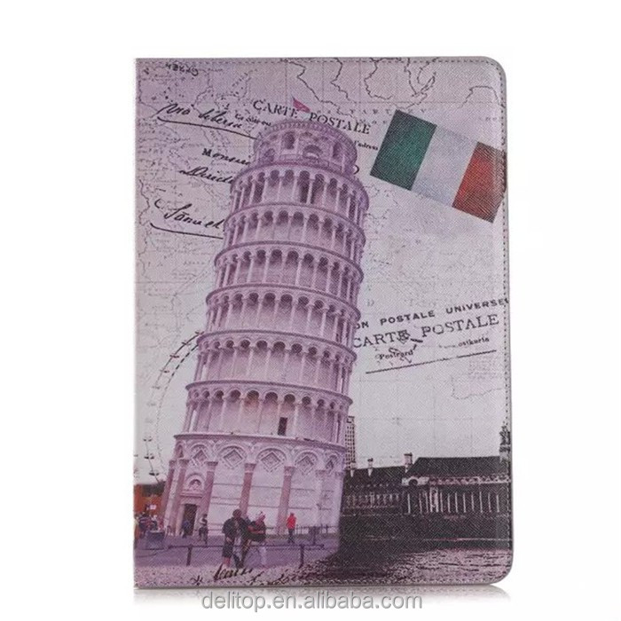 Retro Book Scenic Spots Printed Wallet Case Card Holder Cover Stand For Apple iPad Air 2/iPad 6