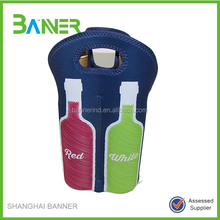 Customized Pattern neoprene portable bottle wine cooler tote bag