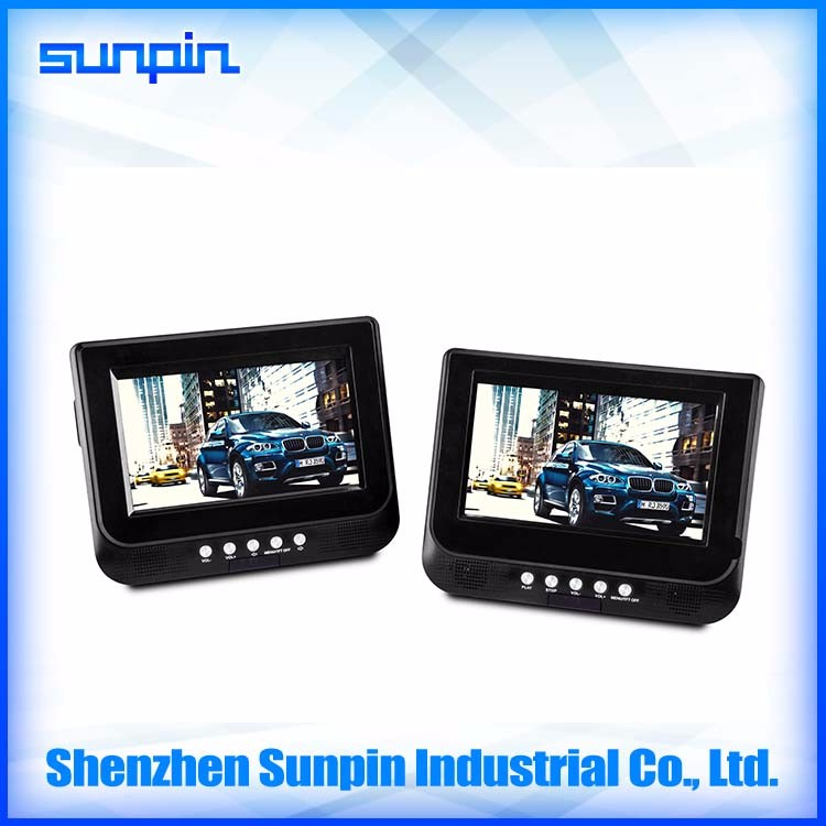Made in China 7 inch dual monitor portable dvd player for car
