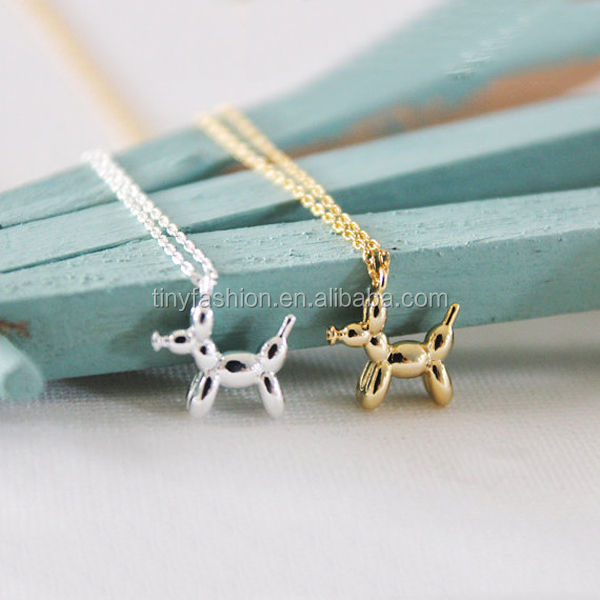 Balloon Poodle Charm in <strong>Silver</strong> or Gold Cute Balloon Dog Puppy Necklace Animal Pet Necklace