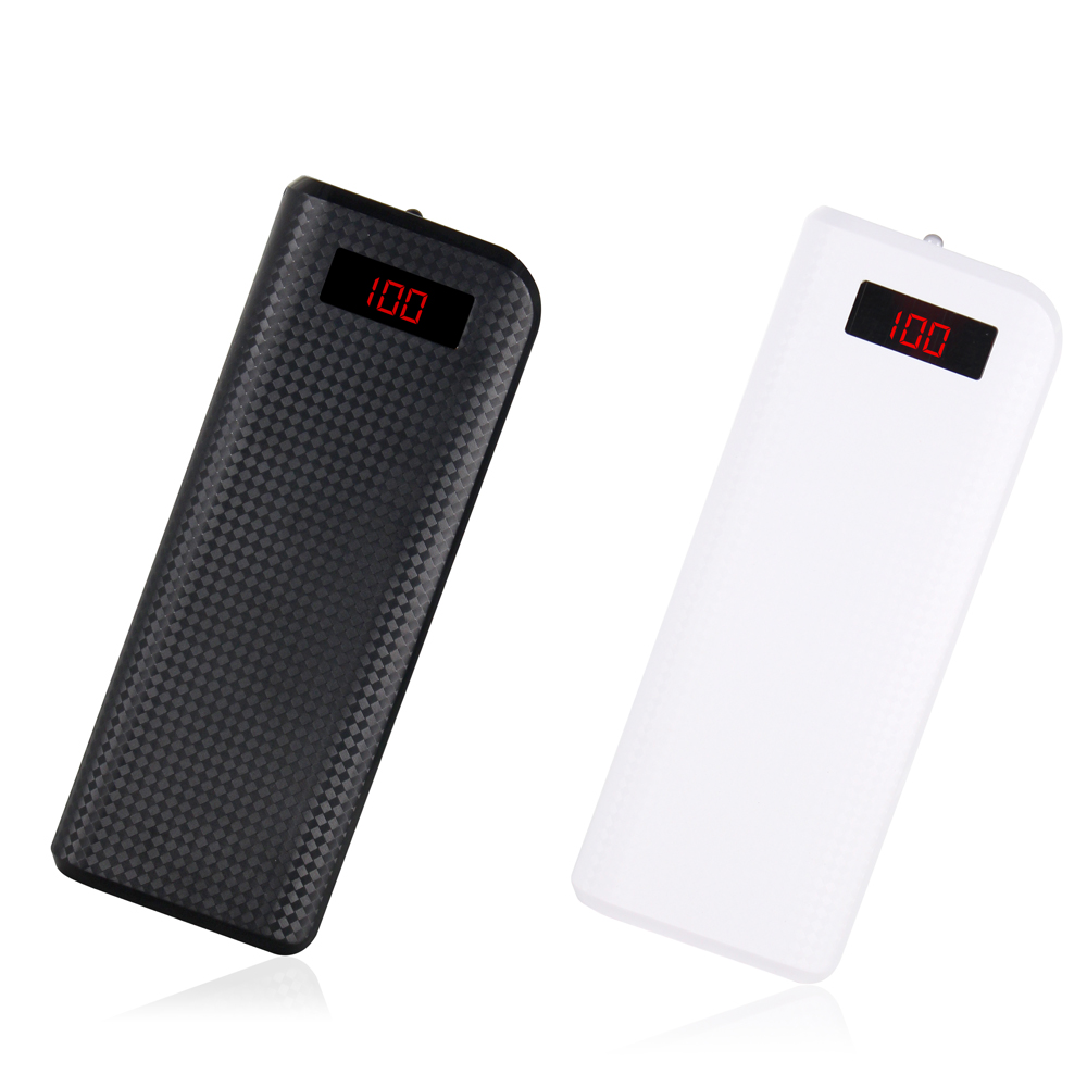 6 cell power bank housing case dual USB digital display power pack for 18650 battery