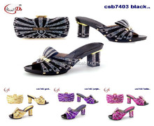 CSB7403 High Heel Shoes With Bag Set Europea and America fashion design rubber slipper with bag set