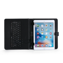 customized universal pu leather tablet case with keyboard