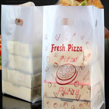 poly square bottom side gusset plastic frosted delivery pizza packing bags
