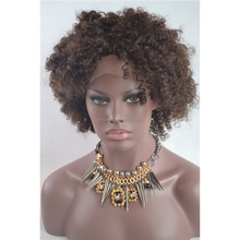 Ali Bliss Wig Short Afro Kinky Curly Brazilian Human Virgin Hair Afro Kinky Curl Lace Front Wig for African American