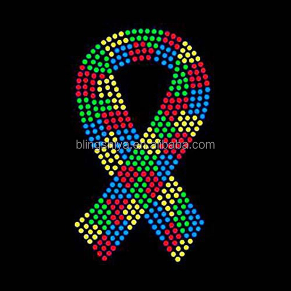 Shiny and colorful custom breast cancer ribbon rhinestone transfer iron ons