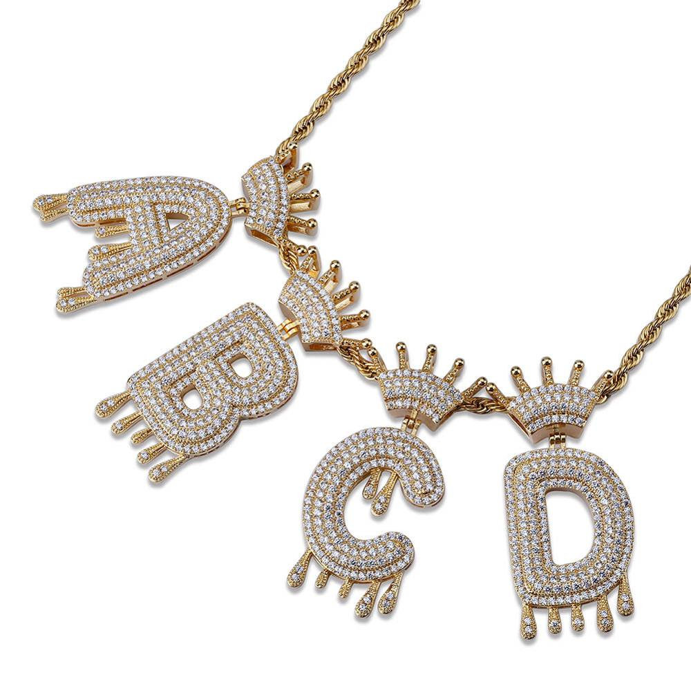 Custom Name Crown Bail Drip Initials Bubble Letters Necklaces &amp; Pendant For Men Women Cubic Zircon Hip Hop <strong>Jewelry</strong> (KHP064)