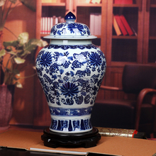 H60CM Large Chinese Blue White Porcelain Hand Painted Decorative Temple Ginger Jars