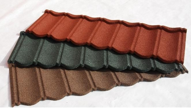Stone chip metal roof tile with neverfade stone coating