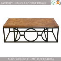circle parquet recycled wood top industrial iron metal leg french contemporary wood coffee table