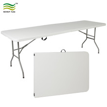Fold In Half HDPE Plastic 8' Portable Folding Table