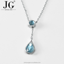 2017 Fashion Mother of Pearl Shell White Crystal Jewelry Blue Stone Water Drop Design Pendants Necklace for Women