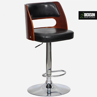 Dickson high quality design bar stool with wood back and leather seat